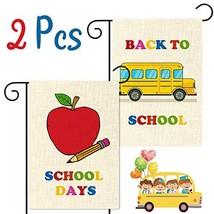 WATINC 2Pcs Back to School Garden Flag Apple School Bus Flag for School ... - $7.41