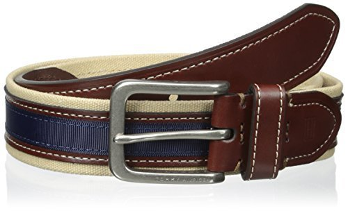 Tommy Hilfiger Men's  1 3/8 in. Canvas Leather Ribbon Belt,Khaki/Brown/Navy,32