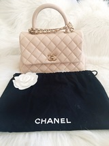 100% AUTHENTIC CHANEL 2017 CAVIAR QUILTED MINI COCO HANDLE FLAP BAG BEIGE GHW image 2