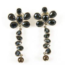 Swarovski Blue Tone Crystals Silver tone Hardware  Long Flower Earrings ... - $71.28