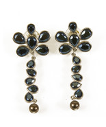 Swarovski Blue Tone Crystals Silver tone Hardware  Long Flower Earrings in Box - $71.28