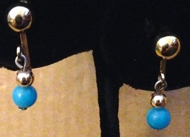 Vintage Gold Tone Turquoise Blue Ball Lucite Bead Clip On Dangle Earring... - $12.79