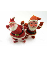 2 Vintage Flocked Santa Claus Ornaments Singing & Dancing Santa St Nikol... - $23.99