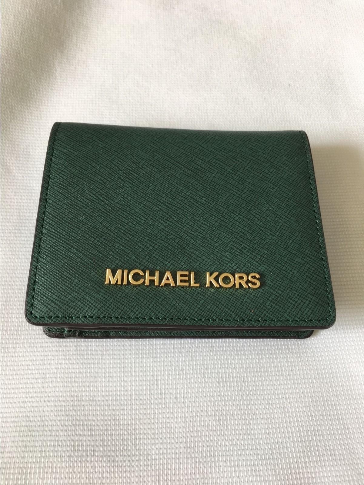 002140e3d9cb Michael Kors Jet Set Travel Flap Card Holder Wallet Moss Green Authentic