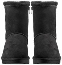 Kirkland Signature Women's Black Sheepskin Shearling Winter Boots w Zipper NIB image 4