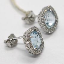 18K WHITE GOLD EARRINGS CUSHION SQUARE BLUE TOPAZ, ZIRCONIA FRAME, MADE IN ITALY image 3