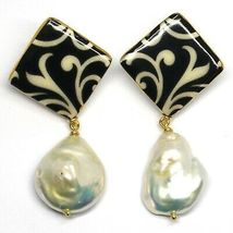 EARRINGS SILVER 925, HANGING, PEARLS BAROQUE STYLE DROP, DECORATION WHITE BLACK image 3