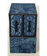 Vintage Japanese Blue Jewelry Box Asian Motifs Pen Holder Office - $23.74