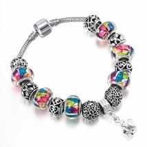 Kinitial  1Pcs Silver Plated Fashion Heart Butterfly Bead Charm Bracelet... - $11.40