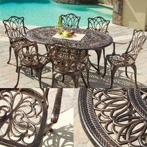 Cast Aluminum Garden Table and Chairs Dining Set 7 Piece Patio Outdoor F... - $899.00