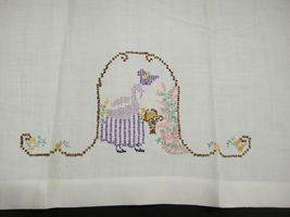 Vintage Hand Embroidered Tea Towels April Showers May Flowers Girl in Garden image 3