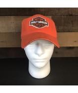 Harley Davidson Orange Fitted Hat Adult Size 7 - $12.64