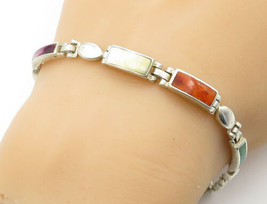 925 Sterling Silver - Vintage Mother Of Pearl & Jasper Chain Bracelet - ... - $37.31
