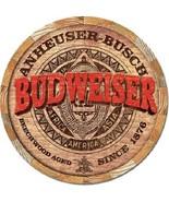 """Anheuser Busch Budweiser Bud Barrel End Retro Made USA 12"""" Round Metal T... - $15.99"""