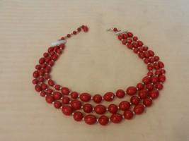 """Vintage 3 Strand Round Red Ball Choker Necklace 17"""" Long - $22.28"""