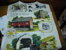 Kay Dee Pa Dutch  Linen Tea Towel Bridge Carriage Horse Amish Barn birds - $7.00