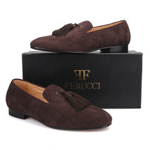 Handmade Men FERUCCI Brown suede with Big Brown Tassel Slippers loafers Flat - $169.99
