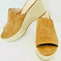 Kate Spade womens New York Espadrille Wedge Suede Camel Scalloped edge NEW 7.5 - $52.57