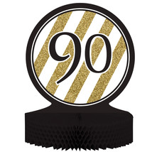 "Black & Gold 90th Birthday Honeycomb Centerpiece 12"" x 9"", Case of 6 - €31,79 EUR"