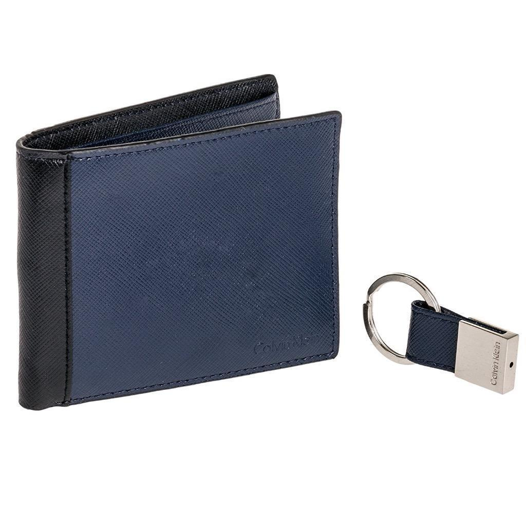 Calvin Klein Ck Men's Leather Bifold Wallet Keychain Key Fob Box Set RFID 79568