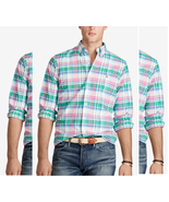 Polo Ralph Lauren Men's Plaid Oxford Shirt , Green/Pink, Size L, MSRP $89.5 - $49.49