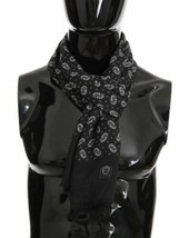 Dolce & Gabanna Gray Luxury Mens Cashmere Floral Scarf - $177.21