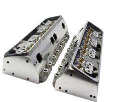 SBC Small Block Chevy GM Angle Plug Aluminum Cylinder Head Set 64cc 2.02/1.60 image 4
