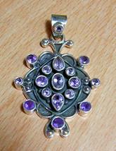 "925 / 800 Silver Purple Amethyst Gemstone Pendant 2"" - $95.05"