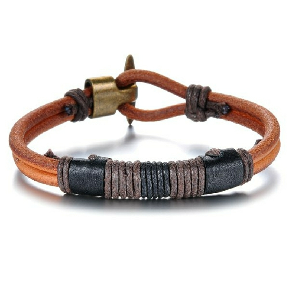 Fashion style faux leather woven rope bracelet for men dun