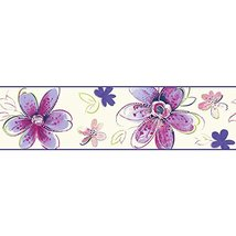 York Wallcoverings Brothers and Sisters V Bohemian Floral Border, White,... - $16.82