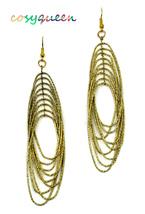 Women new yellow gold hanging loops hook pierced earrings - ₹1,367.54 INR