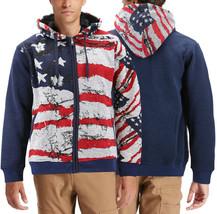Men's USA American Flag Athletic Hoodie Patriotic Zip Up Jacket Sweatshirt