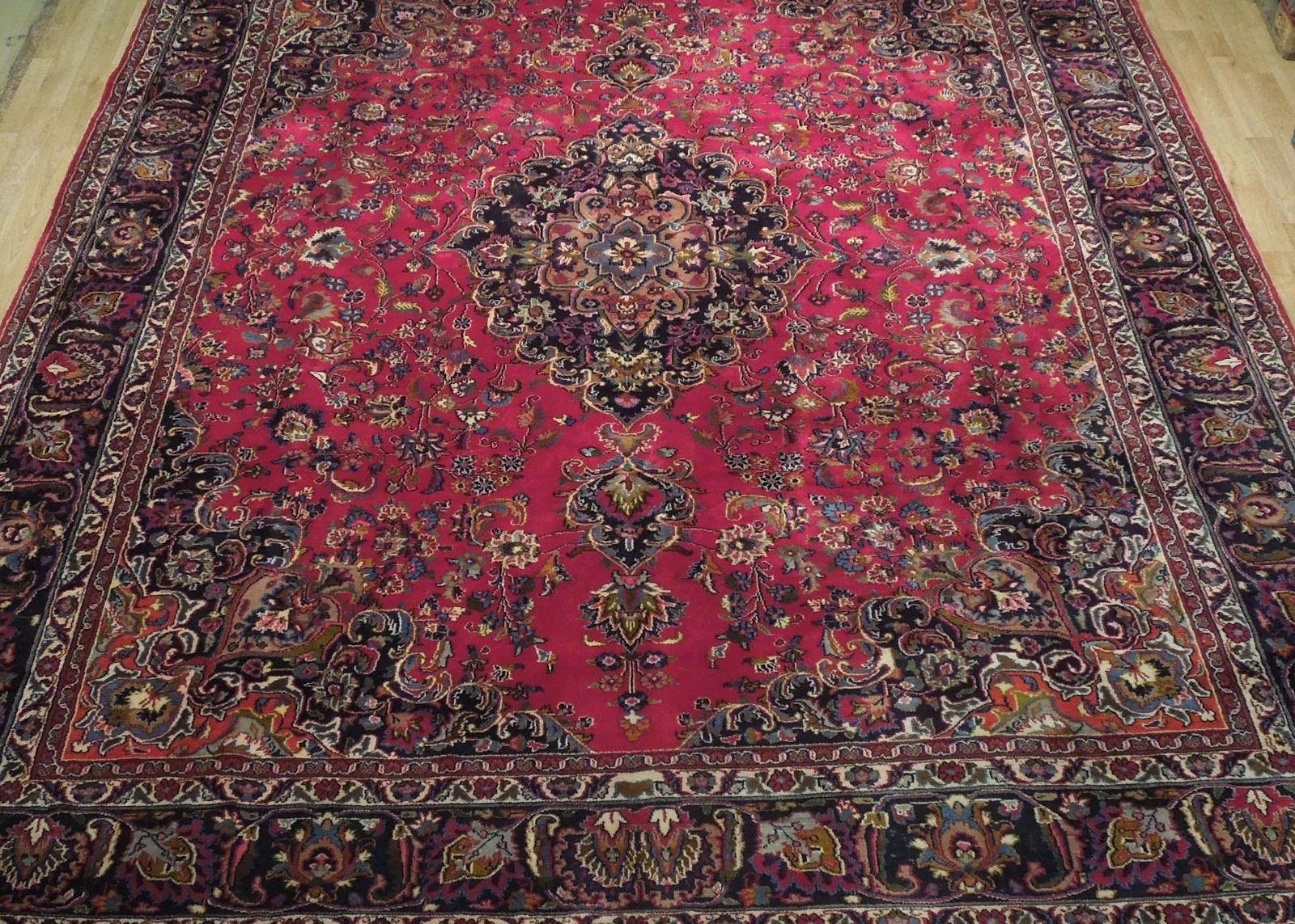 Red Wool Rug 10' x 12' Scarlet Vivid Original Traditional Persian Handmade Rug image 12