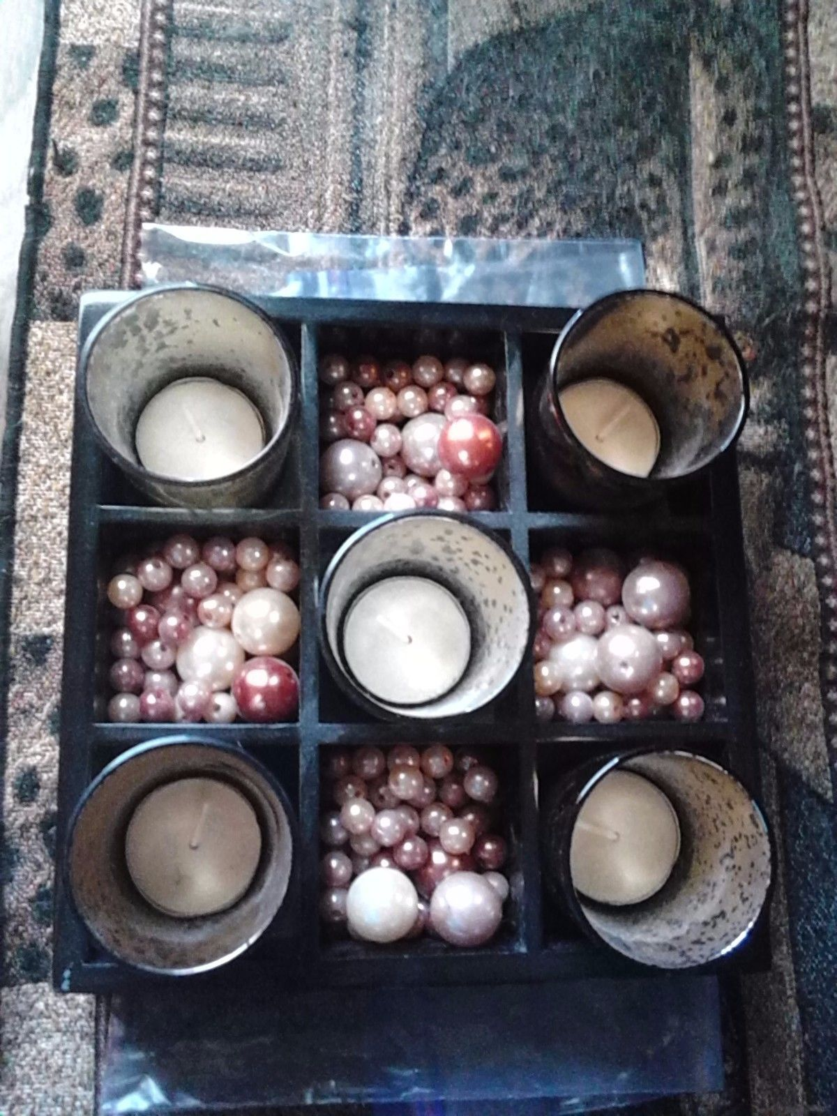 Royal Collection Tealight Holder with Decorative Beads in Wood Holder - Beautifu