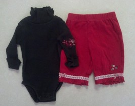 Girl's Size 3-6 M Months L/S Black Turtle Neck Top &  Lady Bug Pants Emb... - $15.10