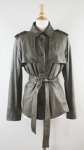 CALVIN KLEIN LEATHER TRENCH JACKET L Olive Belted Short Coat - $257.39