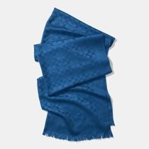 Coach Blue C Scarf Wrap Wool Silk Fringe - $71.78