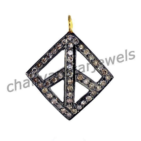 Primary image for Vintage/Antique Look 0.75Ct RoseCut Diamond 925 Silver Charm Luck Pendant 180417