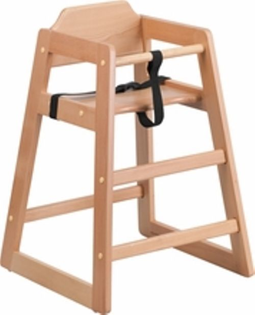 NEW ASSEMBLED COMMERCIAL LIGHT OAK HIGH CHAIR WITH SUPPORT STRAPS FREE SHIPPING - $99.95