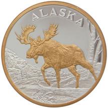Alaska Mint Bull Moose Gold Silver Medallion Proof  Coin - $98.98