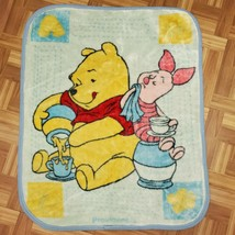 Disney Vintage Winnie Pooh Piglet Flower Fleece Baby Blanket Crib Lap B59 - $31.49
