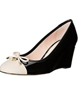 Women's Shoes Kate Spade KACEY S715001 Wedge Pumps Heels Patent Black Cream - $125.95