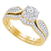 14k Yellow Gold Princess Diamond Bridal Wedding Engagement Ring Band Set 3/4 Ctw - $1,299.00