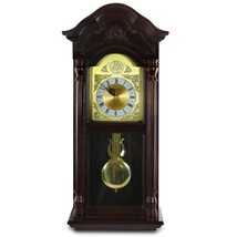 Bedford Clock Collection 25.5 Inch Antique Mahogany Cherry Oak Chiming Wall Cloc - $132.28