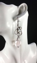 Light pink crystal modern earrings copper wire earrings wire wrapped jewelry - $22.00