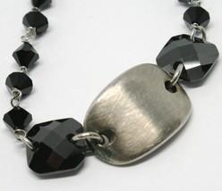 925 STERLING SILVER BRACELET BLACK FACETED SQUARE, WORKED SATIN CENTRAL OVAL image 2