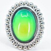 Beaded Edge Silver Tone Oval Cabochon Color Changing Adjustable Mood Ring image 4