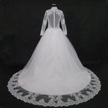 New Stunning Amazing Train Long Sleeve Lace Appliques Satin Wedding Bridal Gown image 6