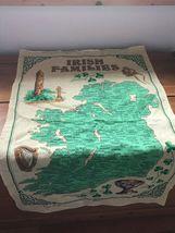 Gently Used Linen Union IRISH Families Yellow & Green Kitchen Towel Wall Hanging image 3