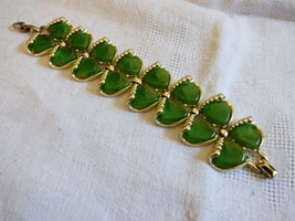 Charel  Green Iridescent Thermoset Mid Century link wide Bracelet - $44.35